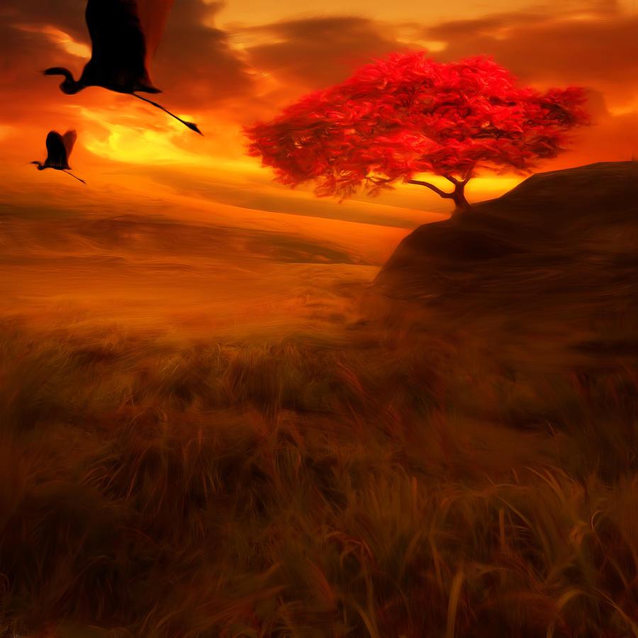 Crane Photograph - Sunset Duet by Lourry Legarde