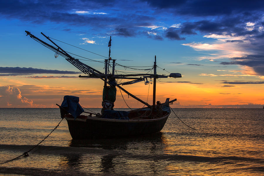 Sunset Photograph - Sunset Fisherman Boat Huahin Thailand by Arthit Somsakul