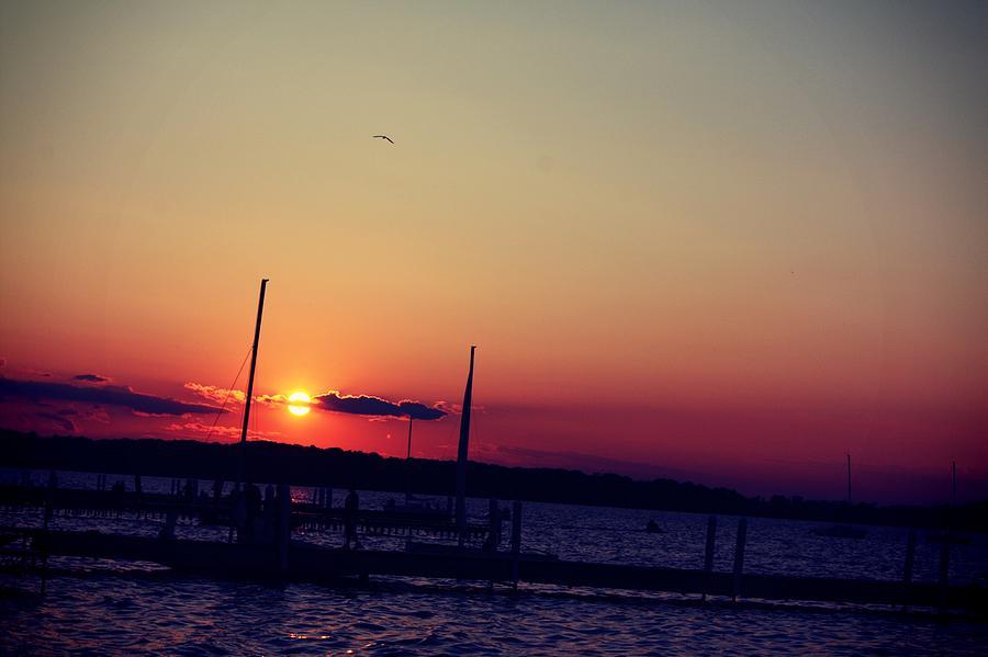Lake Mendota Pyrography - Sunset In Lake Mendota by Xiaoting Kuang