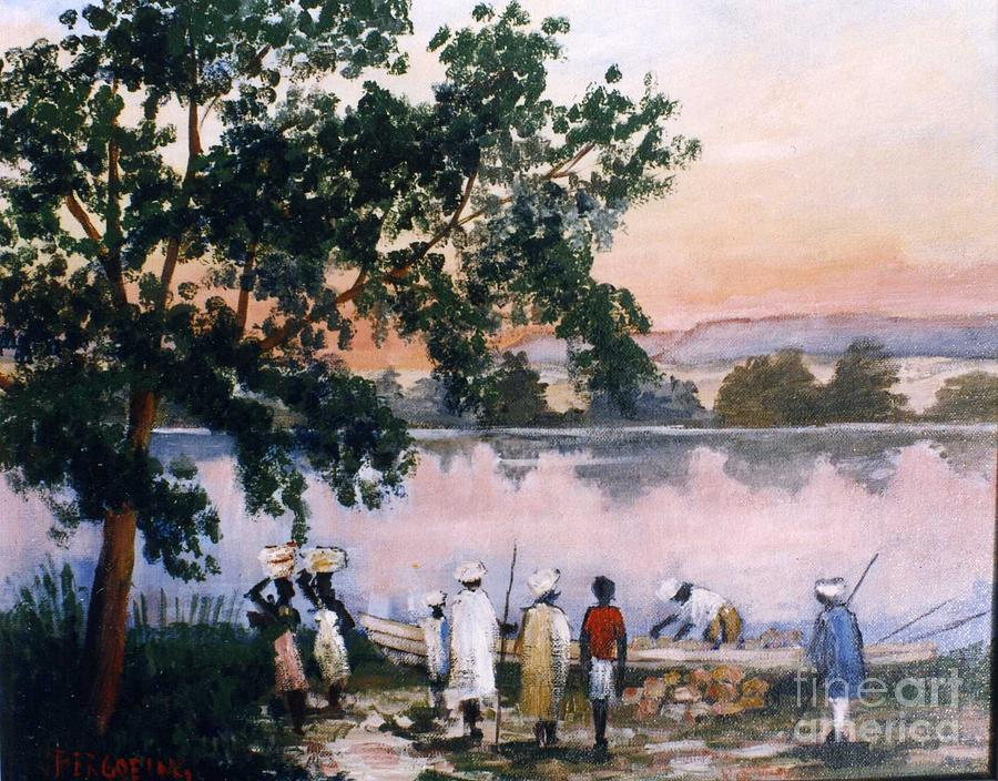Niger River Painting - sunset in Niger river by Jean Pierre Bergoeing