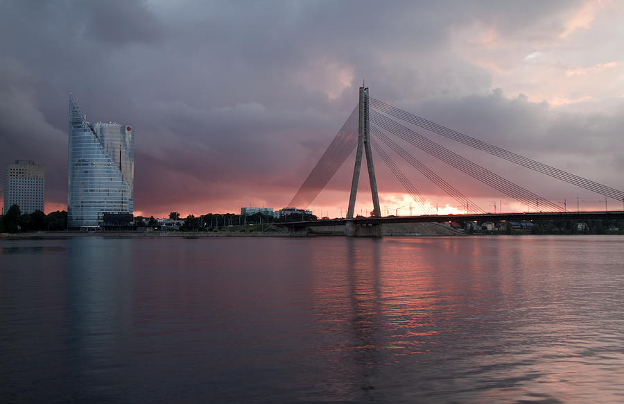 Architecture Photograph - Sunset In Riga by Claudia Fernandes