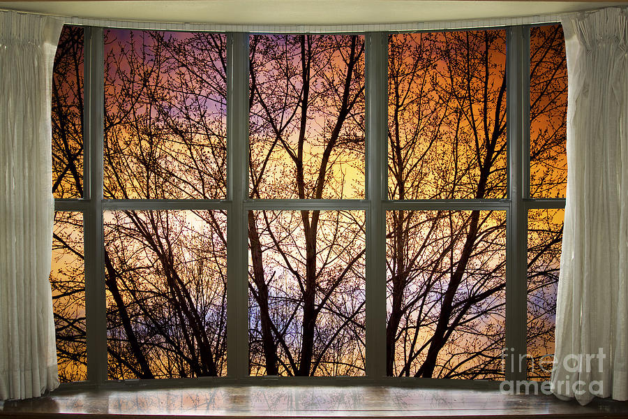 Sunset Into The Night Bay Window View Photograph By James