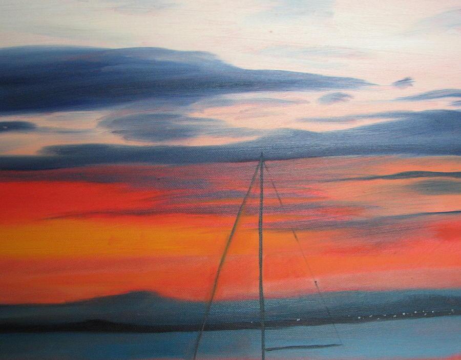 Orange Painting - Sunset by Iris Nazario Dziadul