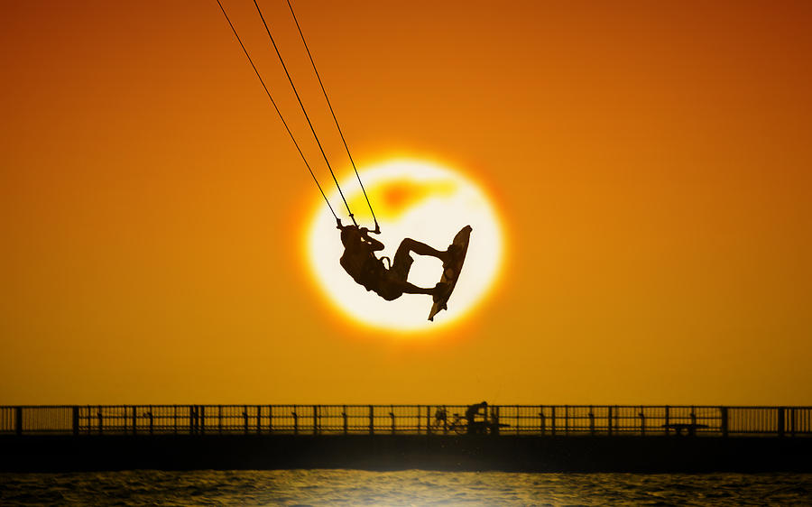 Adult Photograph - Sunset Kite Boarder by Moments In 3 X 4