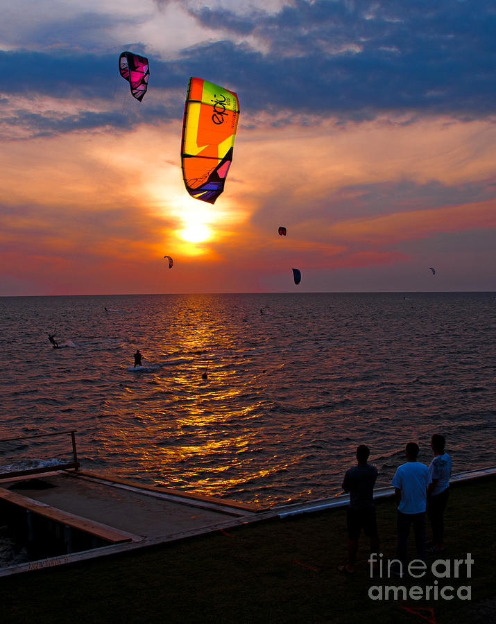 Kites Photograph - Sunset Kiteboarding On The Pamlico Sound by Anne Kitzman