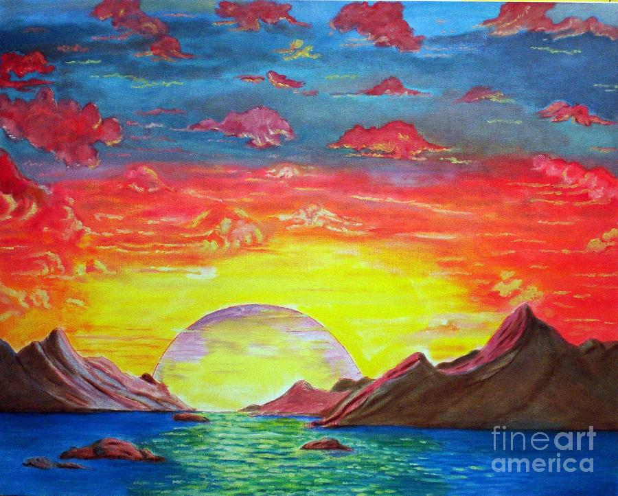 Sunset Painting - Sunset by Kostas Dendrinos