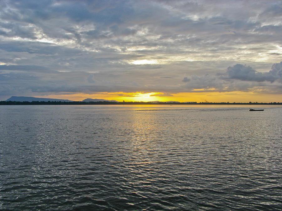 Boat Photograph - Sunset Landscape by Nawarat Namphon