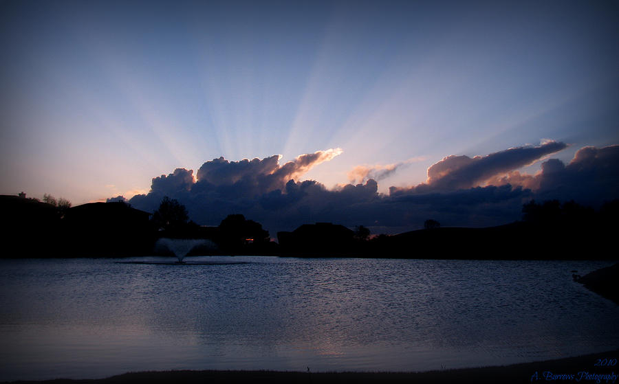 Tanoan Country Club Photograph - Sunset Light Rays Over The Pond by Aaron Burrows