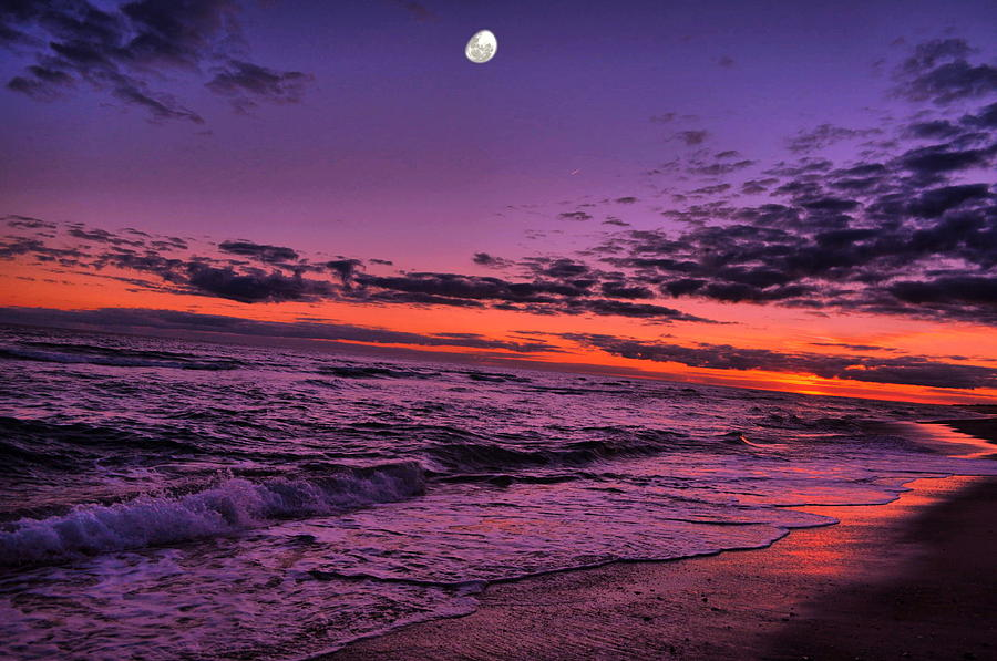 Sunset Photograph - Sunset Moon Rises by Emily Stauring