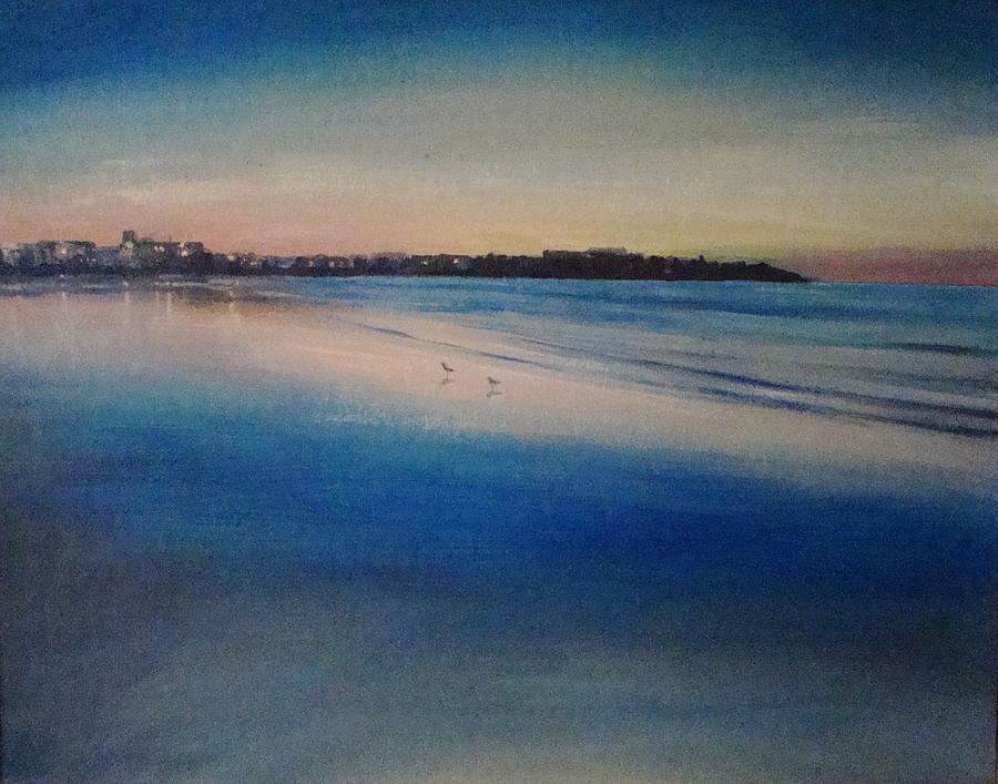 Sand Painting - Sunset On Hampton Beach by Mark Haley