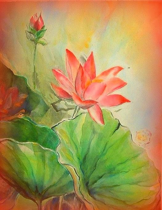 Lotus Painting - Sunset On Lotus by Wendy Wiese