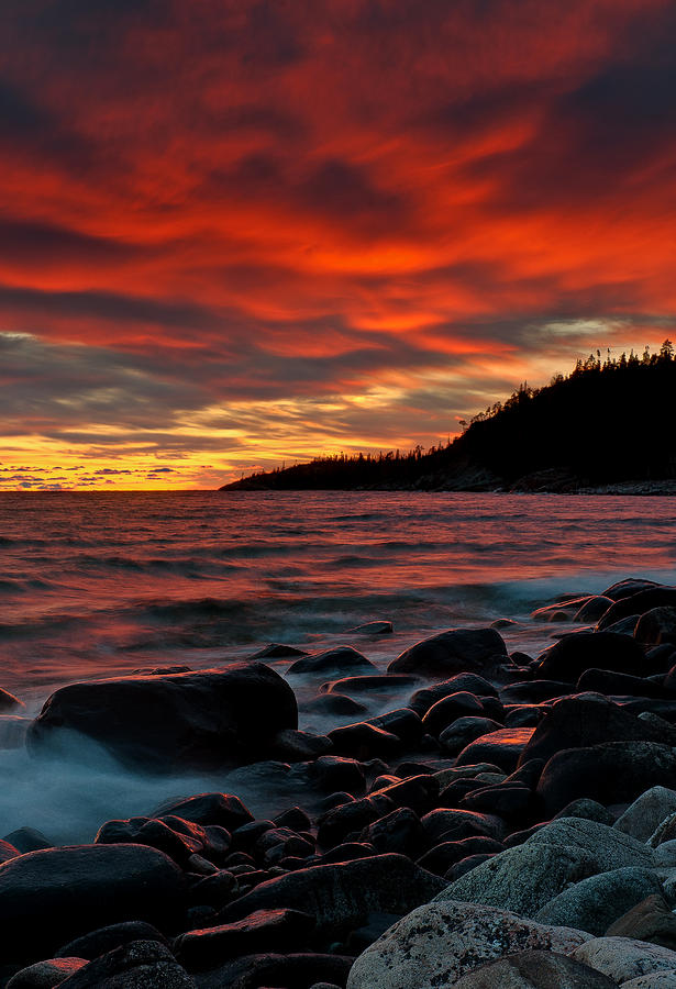 sunset on old woman bay lake superior photograph by chris. Black Bedroom Furniture Sets. Home Design Ideas