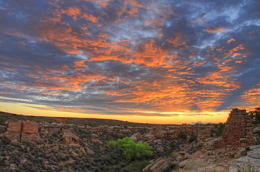 Horizontal Photograph - Sunset On Puebloan Ruins In Hovenweep by Matt Champlin