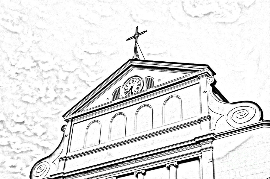 New Orleans Digital Art - Sunset On St Louis Cathedral In Jackson Square French Quarter New Orleans Photocopy Digital Art by Shawn OBrien
