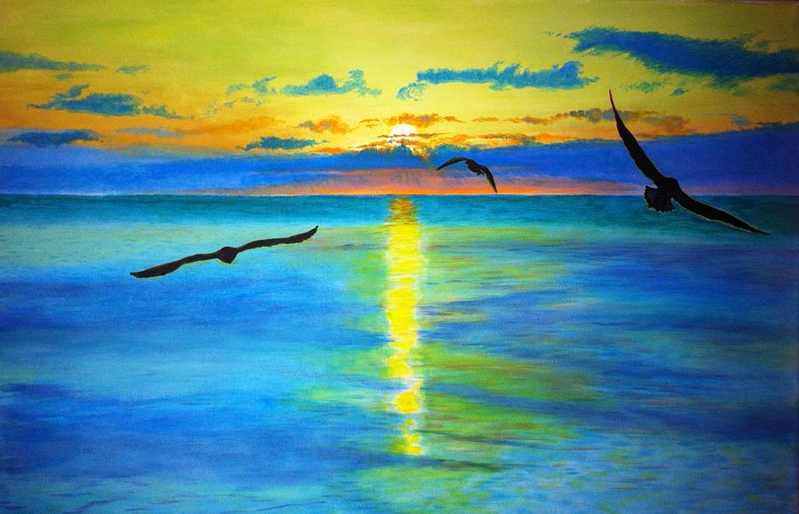 Птицы на закате рисунок красками поэтапно