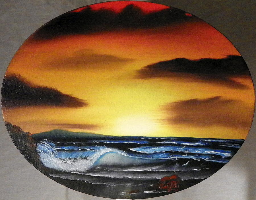 Sea Painting - Sunset On The Seashore by Amity Traylor