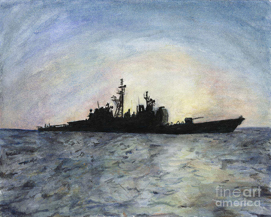 Navy Painting - Sunset On The Uss Anzio by Sarah Howland-Ludwig