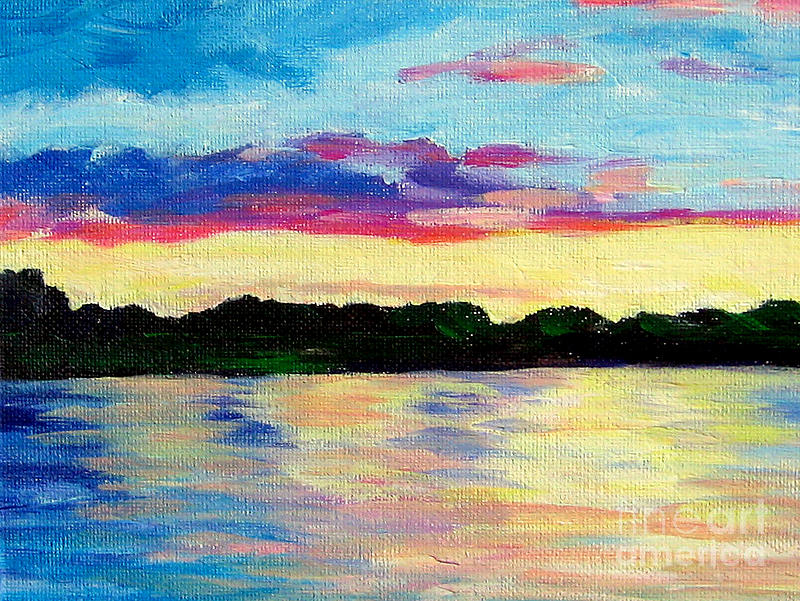 Sunset On Thornapple River Painting by Lisa Dionne