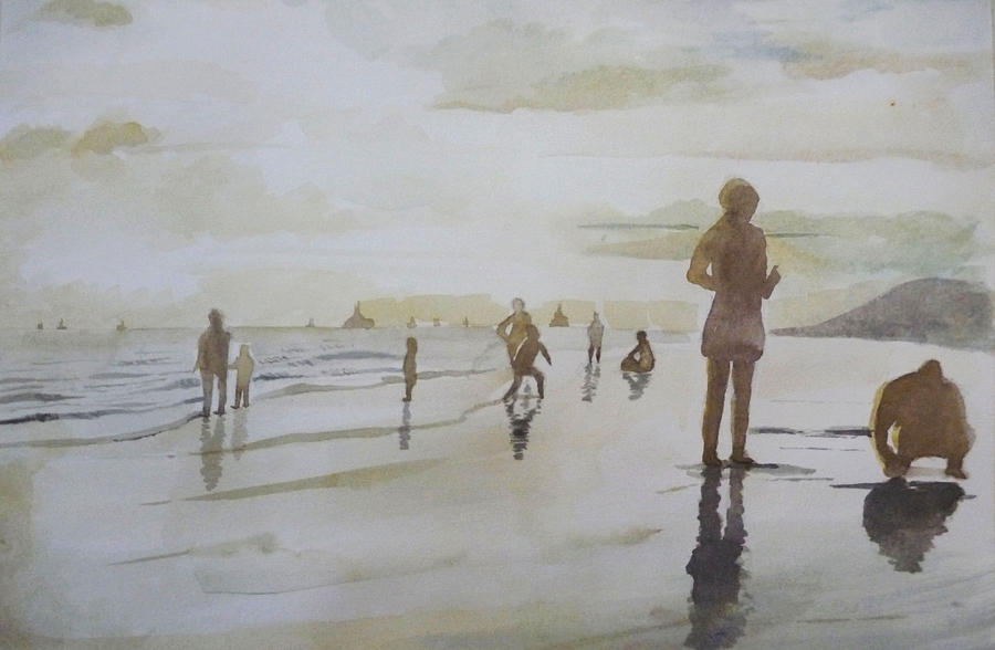 Landscape Painting - sunset on Vung Tau beach by Vuong Anh Tuan