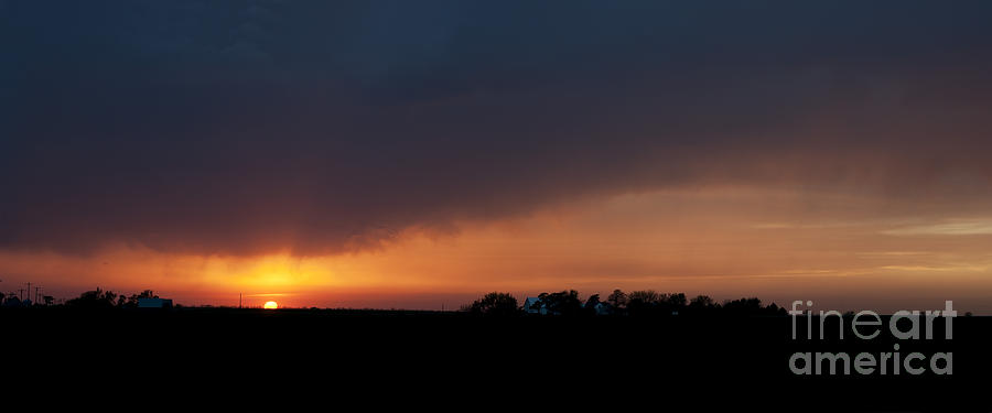 Prairie Sunset Photograph - Sunset Over A Farm by Art Whitton