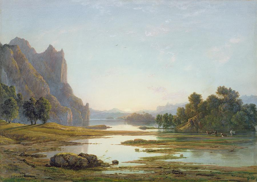 Sunset Painting - Sunset Over A River Landscape by Francis Danby