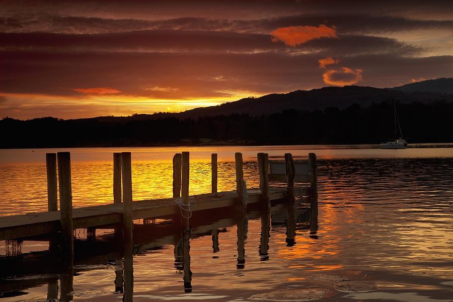 Sunset Over Dock At Lake Windermere Photograph By John Short