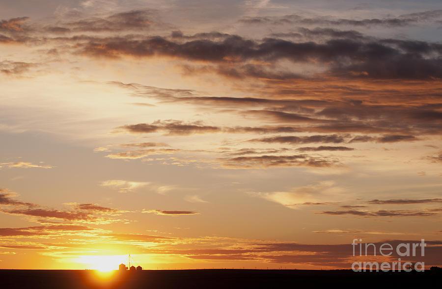 Prairie Sunset Photograph - Sunset Over Grain Bins by Art Whitton