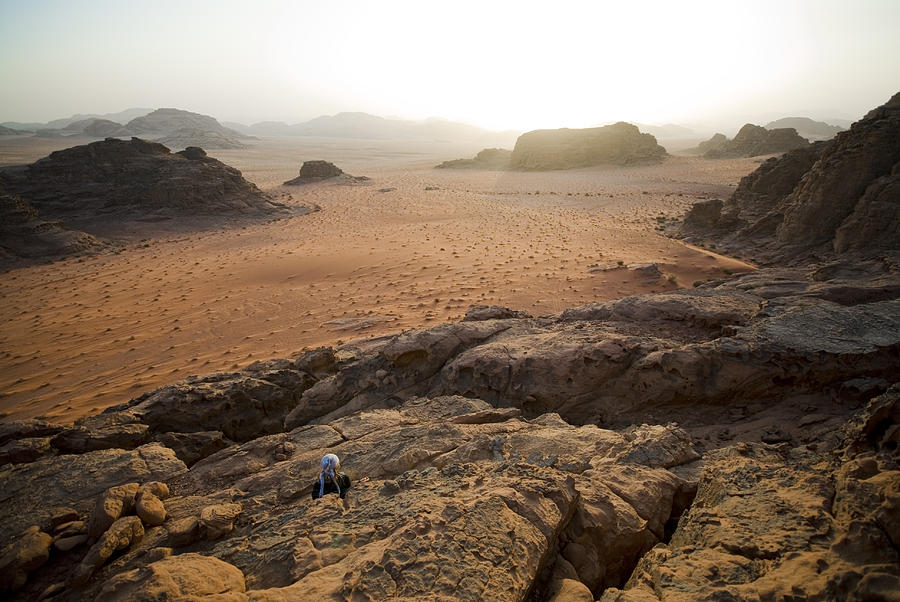 Horizontal Photograph - Sunset Over Jordan Wadi Rum Rock by Jason Jones Travel Photography