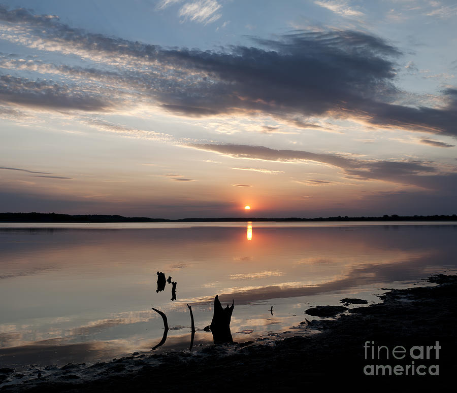 Prairie Sunset Photograph - Sunset Over Lovewell Lake by Art Whitton