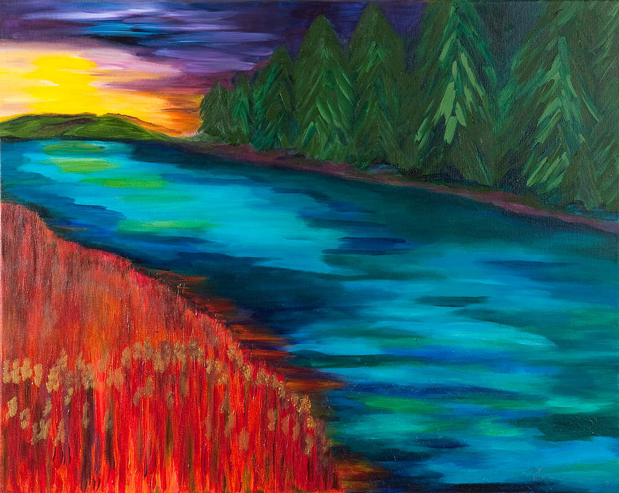 Sunset Painting - Sunset Over Pines by Dani Altieri Marinucci