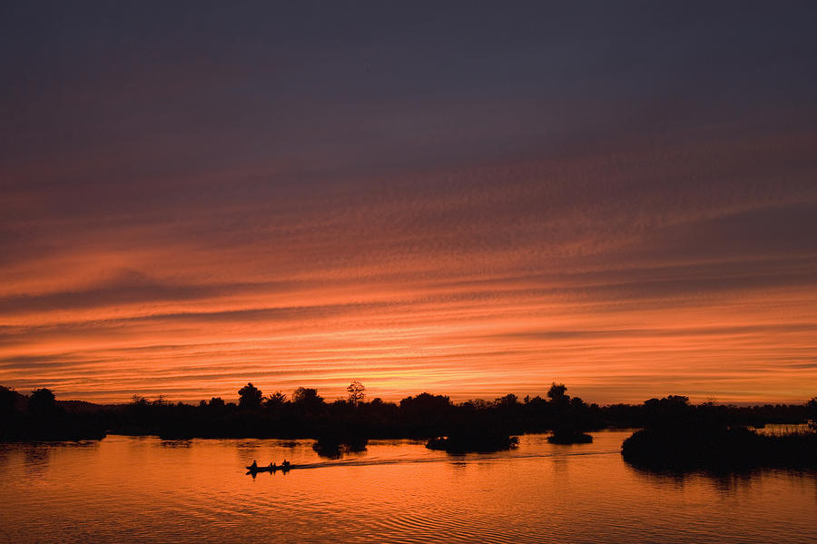 No People Photograph - Sunset Over River by Axiom Photographic