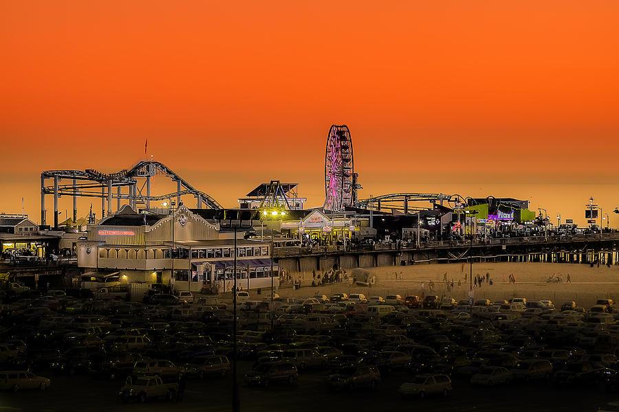 Sunset Photograph - Sunset Over Santa Monica Pier by Trevor Seitz