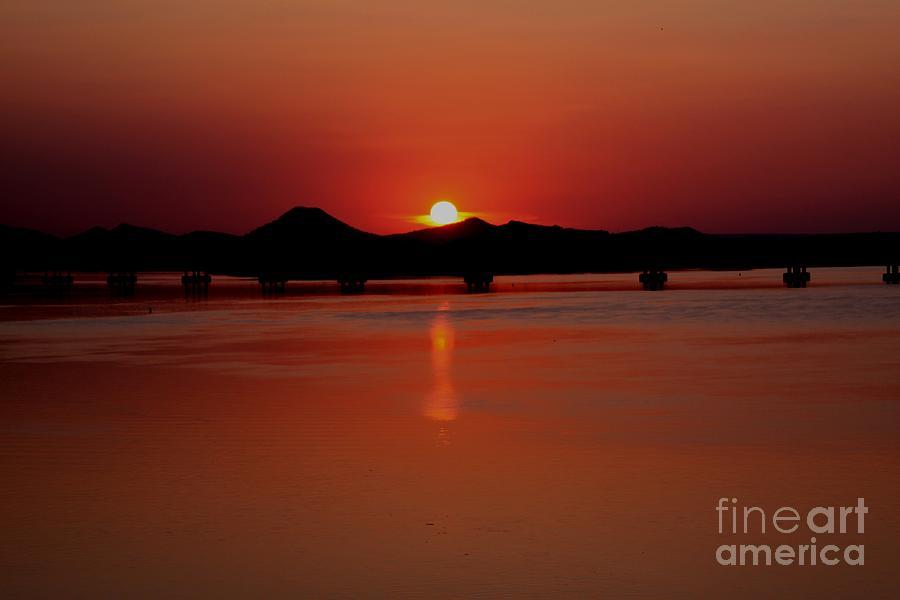 Massive Photograph - Sunset Over The Big Dam Bridge by Joe Finney