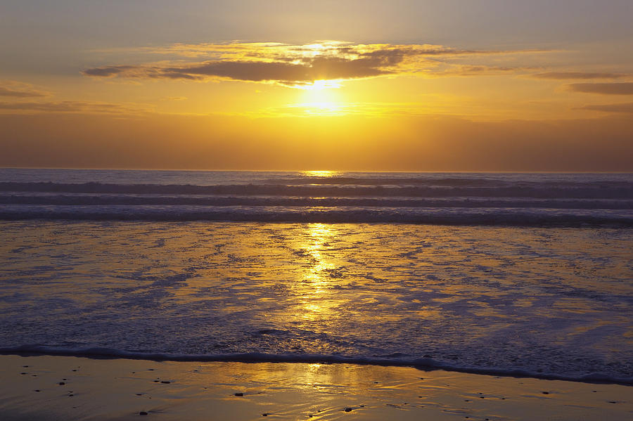 Beauty In Nature Photograph - Sunset Over The Pacific Ocean Along The by Craig Tuttle