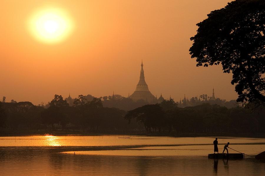 Horizontal Photograph - Sunset Over The Shwedagon Pagoda by Austin Bush