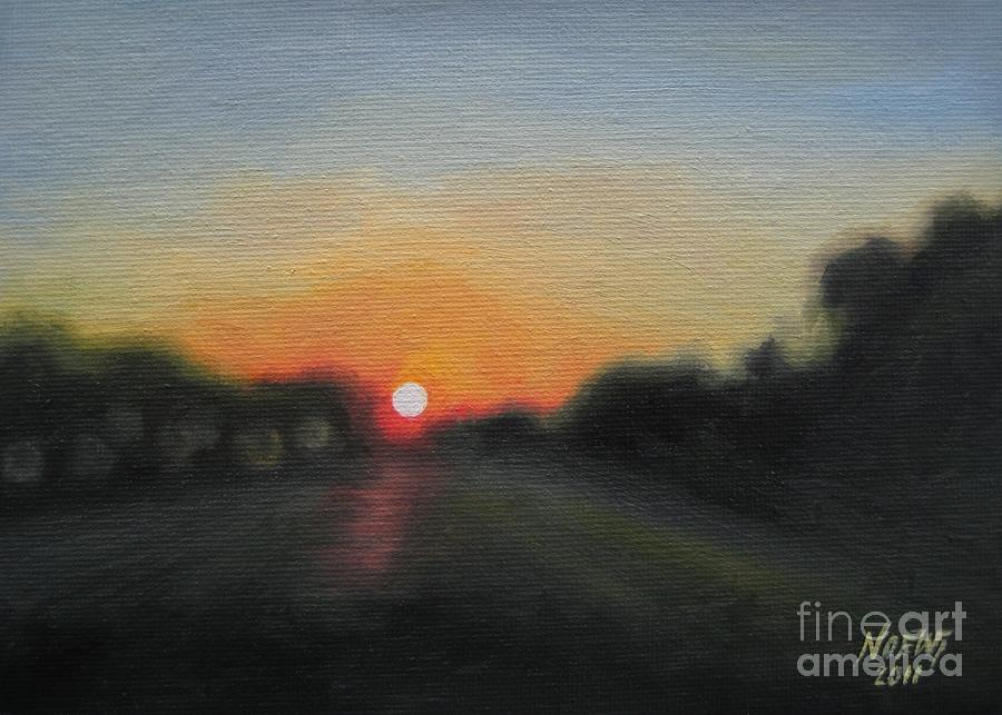 Landscape Painting - Sunset Road by Jindra Noewi