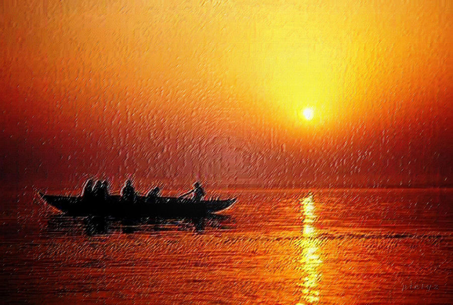 Sunset Digital Art - Sunset Rowing by Piety Dsilva
