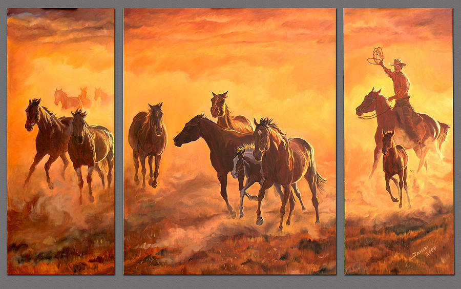 Wild Horses Painting - Sunset Run Triptych by Jana Goode