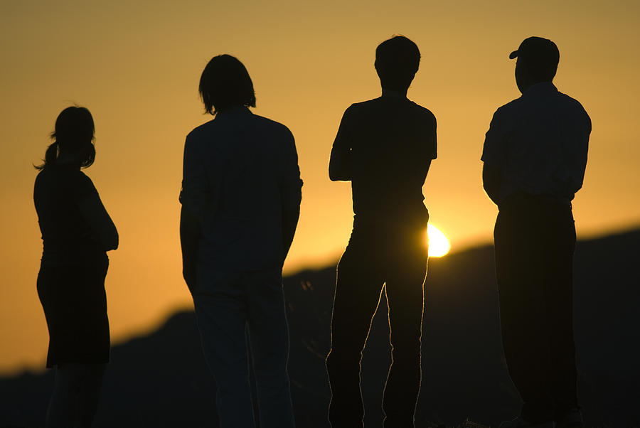 Four People Photograph - Sunset Silhouette Over Corral Canyon by Rich Reid