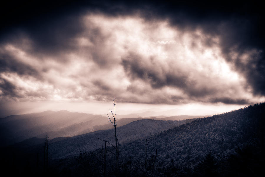 Great Smokey Mountains Photograph - Sunset Storm Over The Smokeys by Pixel Perfect by Michael Moore