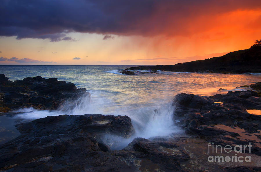 Waves Photograph - Sunset Storm Passing by Mike  Dawson