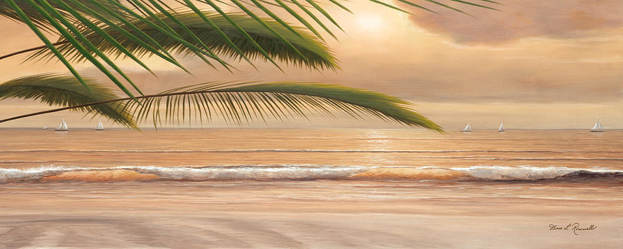 Sunset Surf Panoramic Painting by Diane Romanello