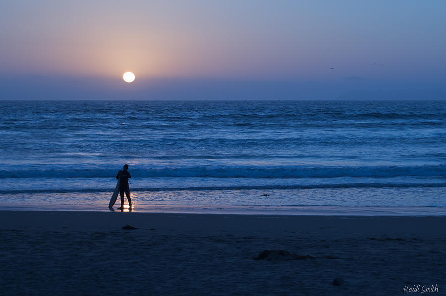 Surfer Photograph - Sunset Surfer by Heidi Smith