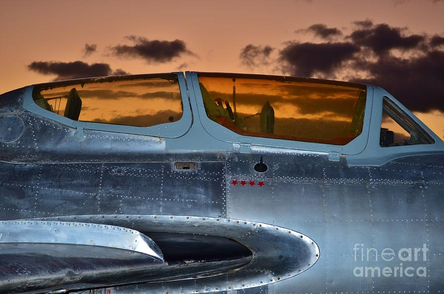 Aircraft Photograph - Sunset Through The Cockpit by Lynda Dawson-Youngclaus