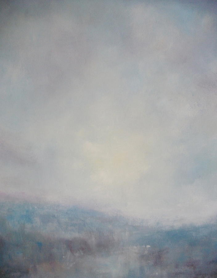 Oil Painting Sunset Painting - Sunset Through The Mist Over Stenbury Down by Alan Daysh