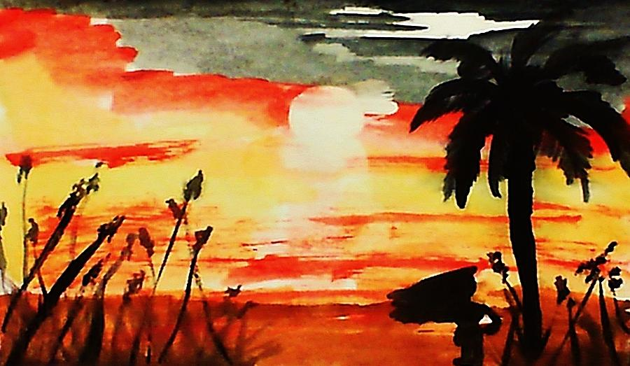 Sunset Under The Palm Tree Painting By Anna Lewis