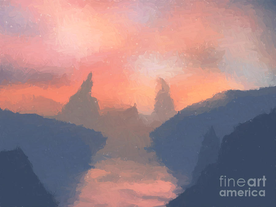 Valley Painting - Sunset Valley  by Pixel  Chimp