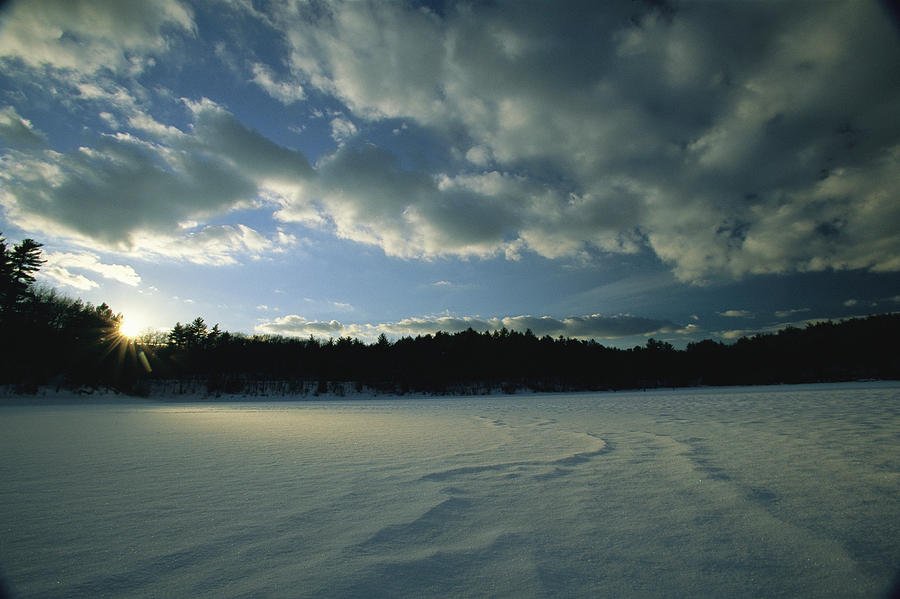 Outdoors Photograph - Sunset Viewed From The Frozen Surface by Tim Laman