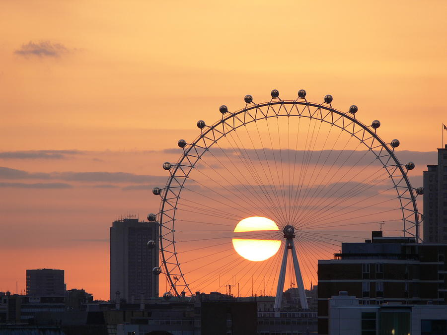 Horizontal Photograph - Sunset Viewed Through The London Eye by Photograph by Lars Plougmann