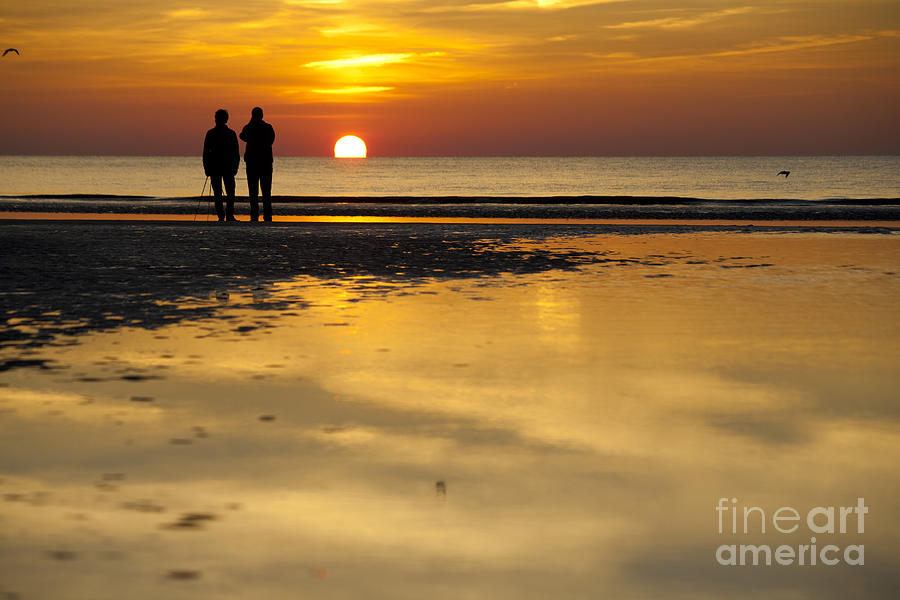 Sunset Walk At The Beach Photograph